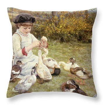 Feeding Ducks Throw Pillow by Edward Killingworth Johnson