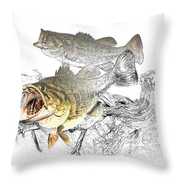 Feeding Largemouth Black Bass Throw Pillow