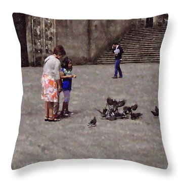 Feeding Pigeons In Santiago De Compostela Throw Pillow by Mary Machare