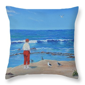 Throw Pillow featuring the painting Feeding The Birds by Mary Scott