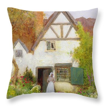 Feeding The Cat Throw Pillow by Arthur Claude Strachan