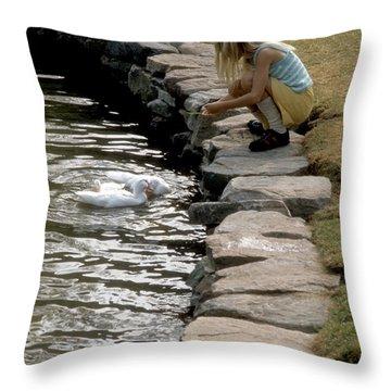 Throw Pillow featuring the photograph Feeding The Ducks by ELDavis Photography