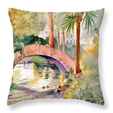 Feeding The Ducks Throw Pillow by Marilyn Smith