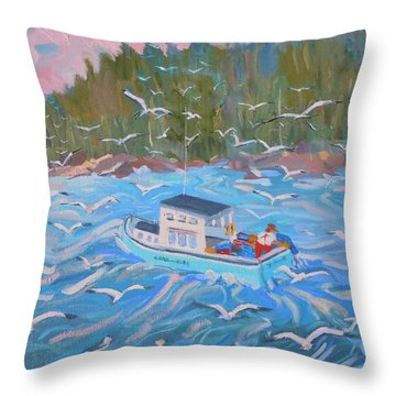 Throw Pillow featuring the painting Feeding The Flock by Francine Frank