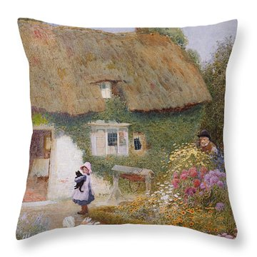 Feeding The Pigeons Throw Pillow by Arthur Claude Strachan