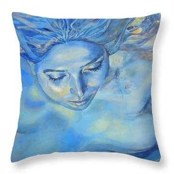 Throw Pillow featuring the photograph Feeling Blue by Ramona Johnston
