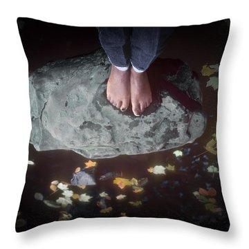 Feet Standing On A Rock Throw Pillow