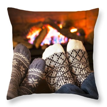 Feet Warming By Fireplace Throw Pillow
