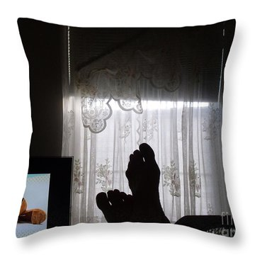 Throw Pillow featuring the photograph Feet Watching Shoes by Lyric Lucas