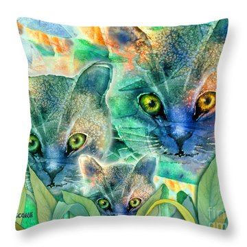 Throw Pillow featuring the painting Feline Family by Teresa Ascone