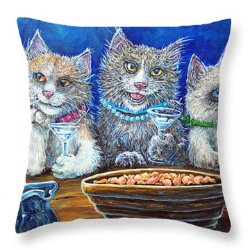 Felines After Five Throw Pillow by Gail Butler