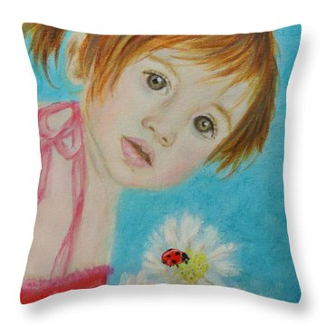 Felisa Little Angel Of Happiness And Luck Throw Pillow by The Art With A Heart By Charlotte Phillips