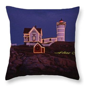 Felize Navidad Nubble Throw Pillow by Skip Willits