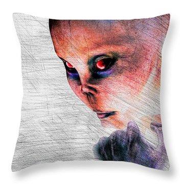 Female Alien Portrait Throw Pillow by Bob Orsillo