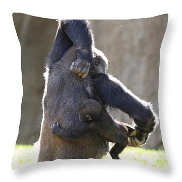 Female And Baby Gorilla Throw Pillow
