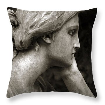Female Angel Face Closeup - Female Angelic Face Portrait Throw Pillow by Kathy Fornal