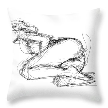 Female-erotic-sketches-8 Throw Pillow