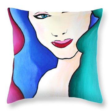 Female Face Shapes And Forms Throw Pillow by Bob Baker