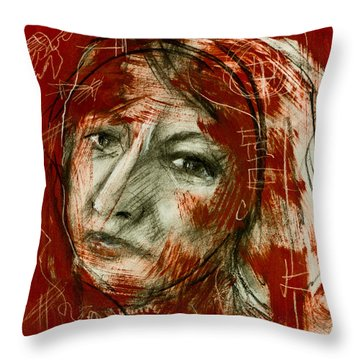 Female Head With Red Background Throw Pillow by Maxim Komissarchik