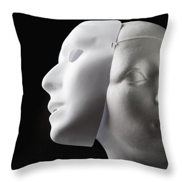 Female Mannequin And Mask Throw Pillow by Kelly Redinger