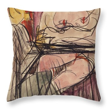 Female Nude And Man Sitting At A Table Throw Pillow by Ernst Ludwig Kirchner