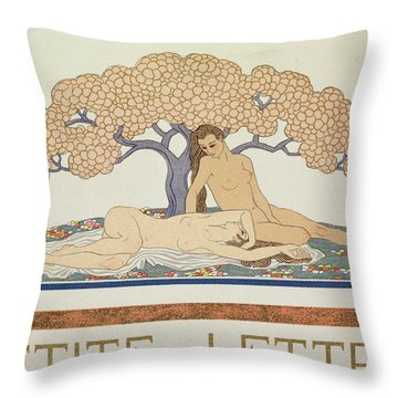Female Nudes Throw Pillow by Georges Barbier