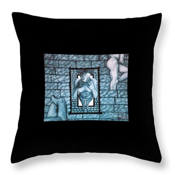 Throw Pillow featuring the painting Female's Gray World by Fei A