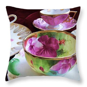 Feminine High Society Ladies Tea Party Throw Pillow