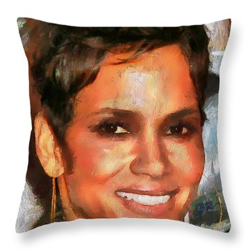 Throw Pillow featuring the painting Femme Halle by Wayne Pascall
