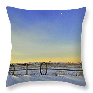 Fence And Moon Throw Pillow