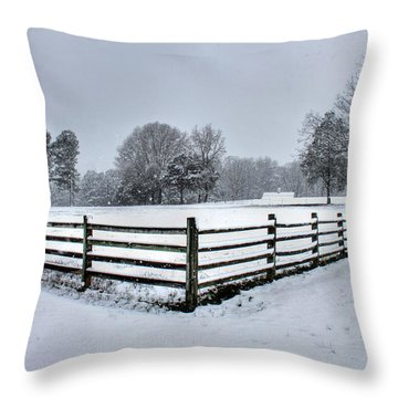 Fence In Snow Throw Pillow by Andy Lawless