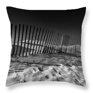 Fence On Beach Throw Pillow