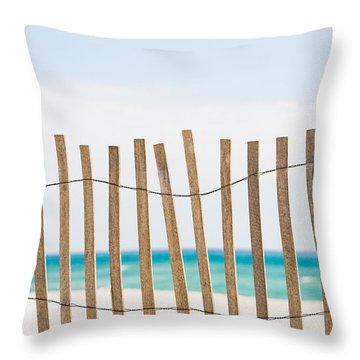 Fence On The Beach Throw Pillow by Shelby  Young