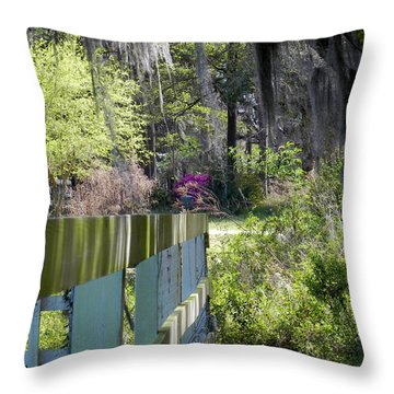 Throw Pillow featuring the photograph Fence Points The Way by Patricia Greer