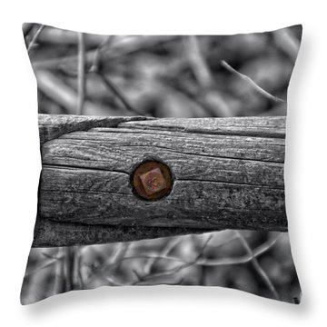 Fence Rail With Rusty Bolt Throw Pillow by Thomas Woolworth