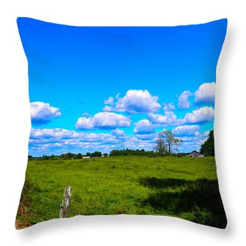 Fence Row And Clouds Throw Pillow by Nick Kirby