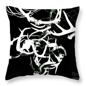 Throw Pillow featuring the photograph Fenced Antler by Amy Sorrell