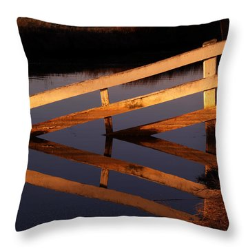 Fenced Reflection Throw Pillow by Bill Gallagher