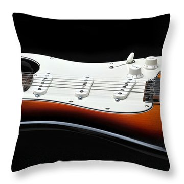 Fender Stratocaster Guitar On Black Background Throw Pillow