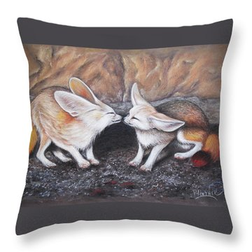 Fennec Love Throw Pillow by Patricia Lintner