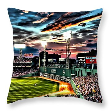 Fenway Park At Sunset Throw Pillow