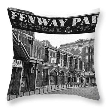 Fenway Park Banner Black And White Throw Pillow