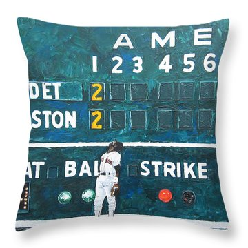 Fenway Park - Green Monster Throw Pillow by Mike Rabe