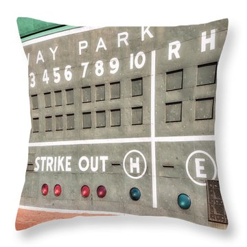 Fenway Park Scoreboard Throw Pillow by Susan Candelario
