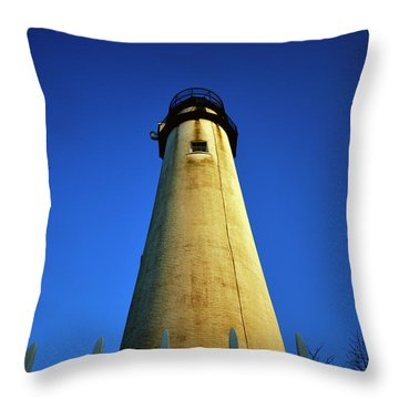 Throw Pillow featuring the photograph Fenwick Island Lightouse And Blue Sky by Bill Swartwout