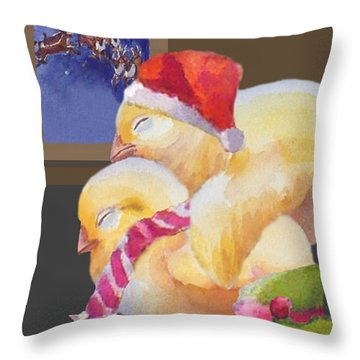 Baby Chicks Night Before Christmas Throw Pillow