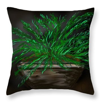 Throw Pillow featuring the digital art Fern by Christine Fournier