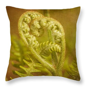 Throw Pillow featuring the photograph Fern Heart by Peggy Collins