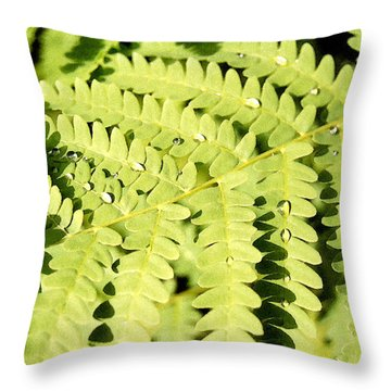 Throw Pillow featuring the photograph Fern With Dew by Mary Bedy