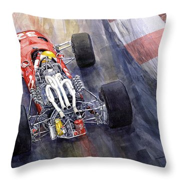 Ferrari 312 F1 1967 Throw Pillow by Yuriy Shevchuk